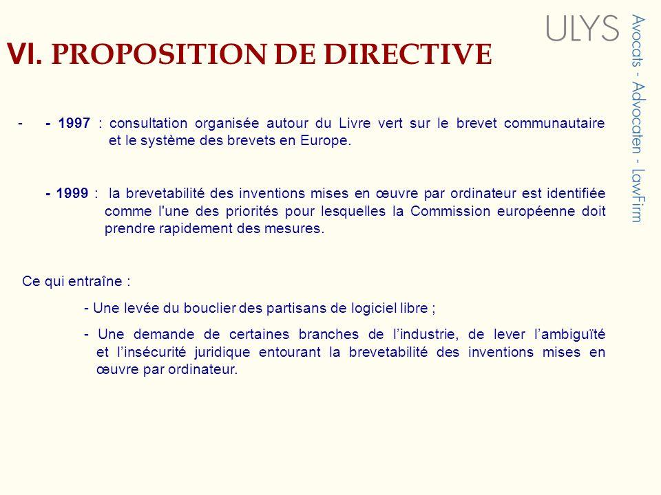 VI. PROPOSITION DE DIRECTIVE