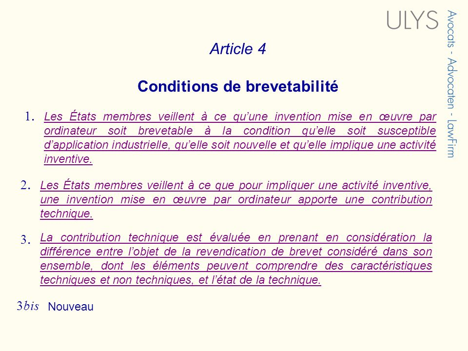 Conditions de brevetabilité