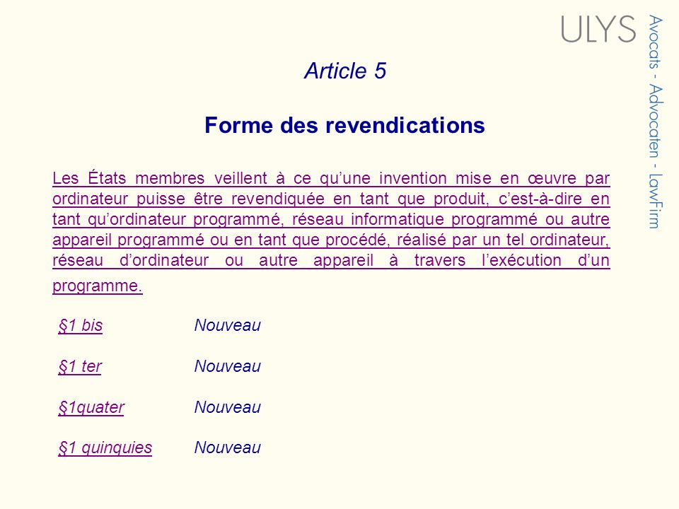 Forme des revendications