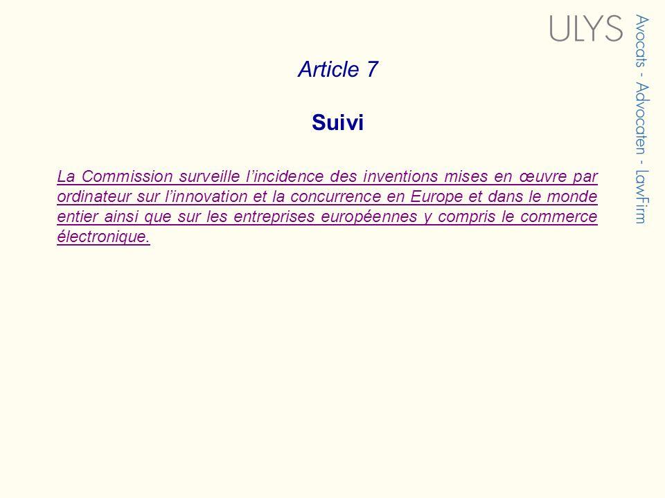 Article 7 Suivi.