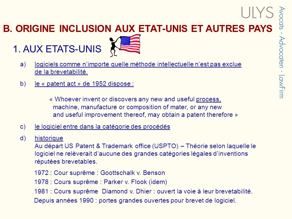 B. ORIGINE INCLUSION AUX ETAT-UNIS ET AUTRES PAYS