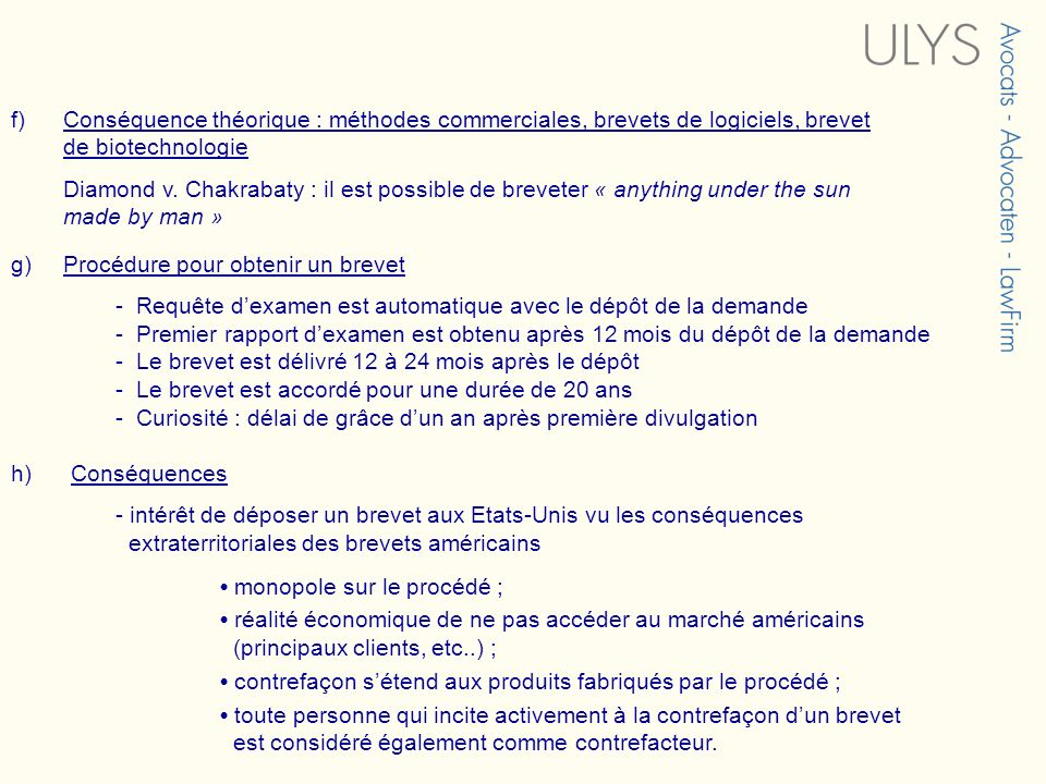 f) Conséquence théorique : méthodes commerciales, brevets de logiciels, brevet de biotechnologie