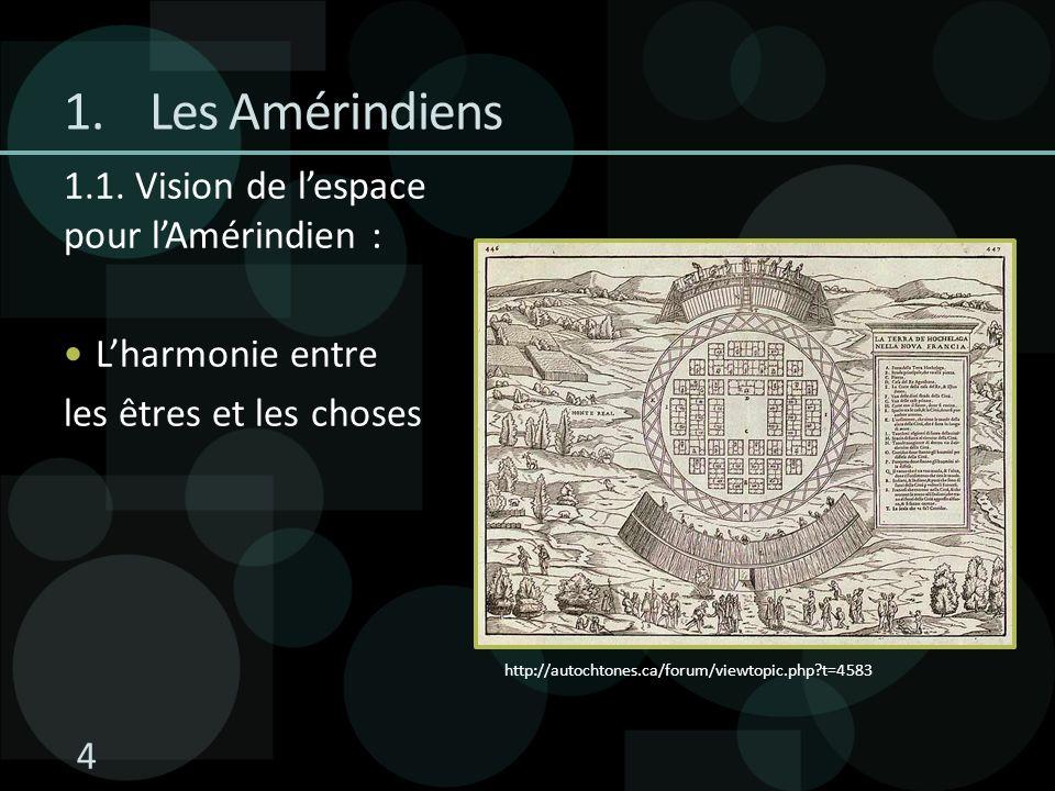 Les Amérindiens 1.1. Vision de l'espace pour l'Amérindien :