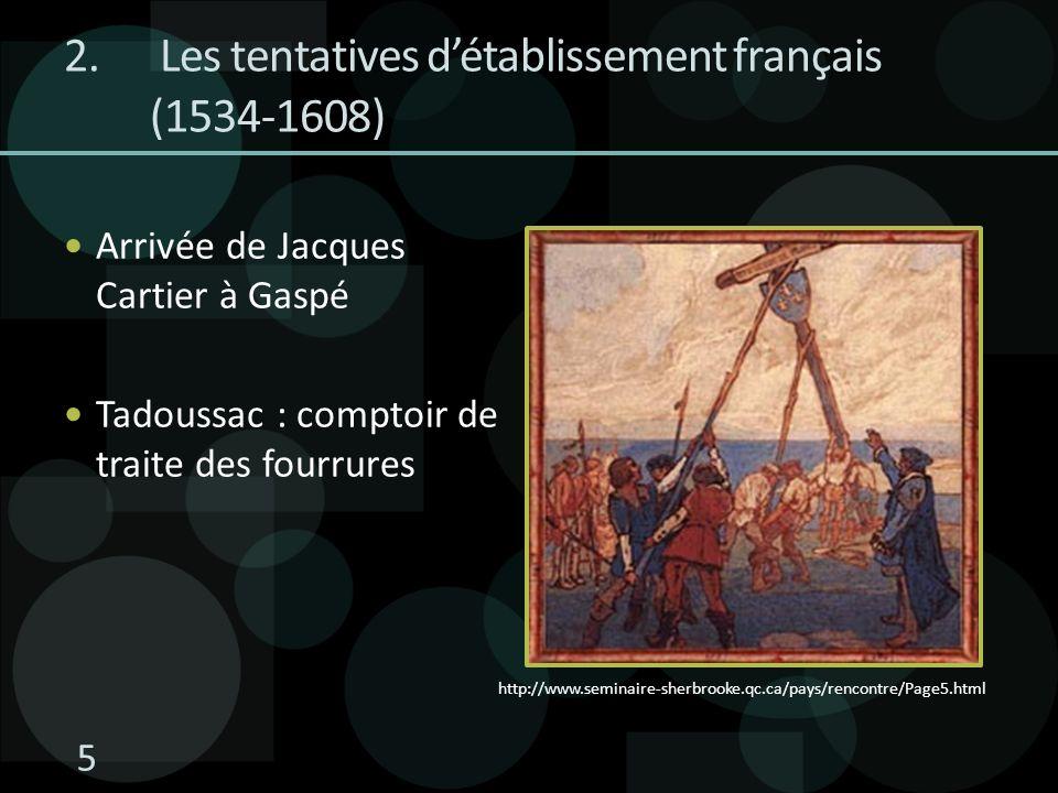 Les tentatives d'établissement français (1534-1608)