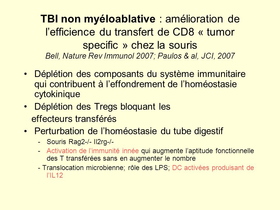 TBI non myéloablative : amélioration de l'efficience du transfert de CD8 « tumor specific » chez la souris Bell, Nature Rev Immunol 2007; Paulos & al, JCI, 2007