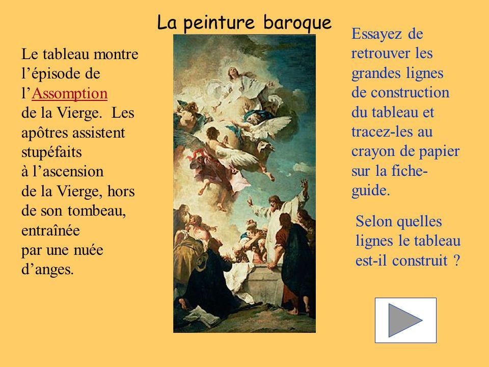 La peinture baroque Essayez de retrouver les grandes lignes de construction du tableau et tracez-les au crayon de papier sur la fiche-guide.
