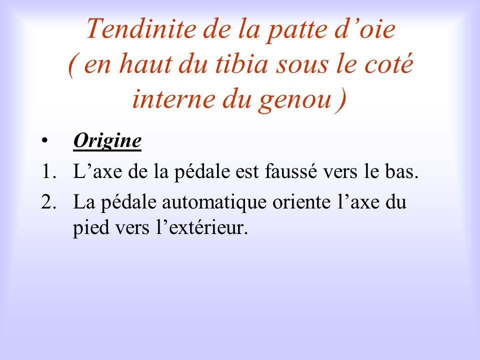Tendinite de la patte d'oie ( en haut du tibia sous le coté interne du genou )