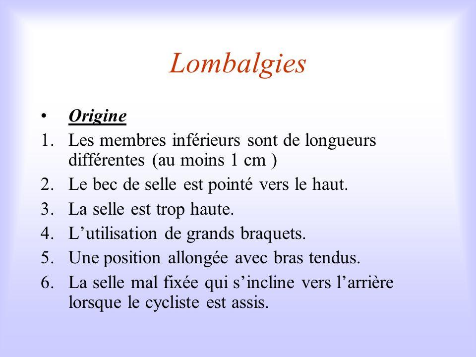 Lombalgies Origine. Les membres inférieurs sont de longueurs différentes (au moins 1 cm ) Le bec de selle est pointé vers le haut.