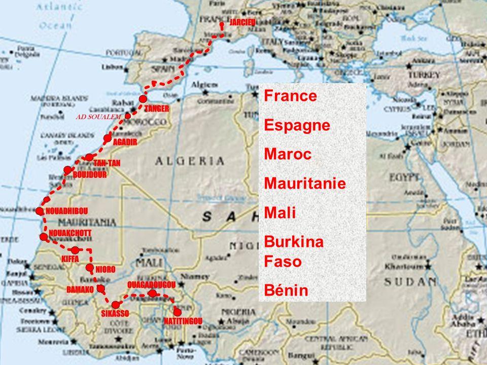 France Espagne Maroc Mauritanie Mali Burkina Faso Bénin