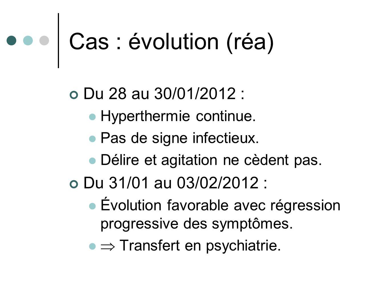Cas : évolution (réa) Du 28 au 30/01/2012 : Du 31/01 au 03/02/2012 :