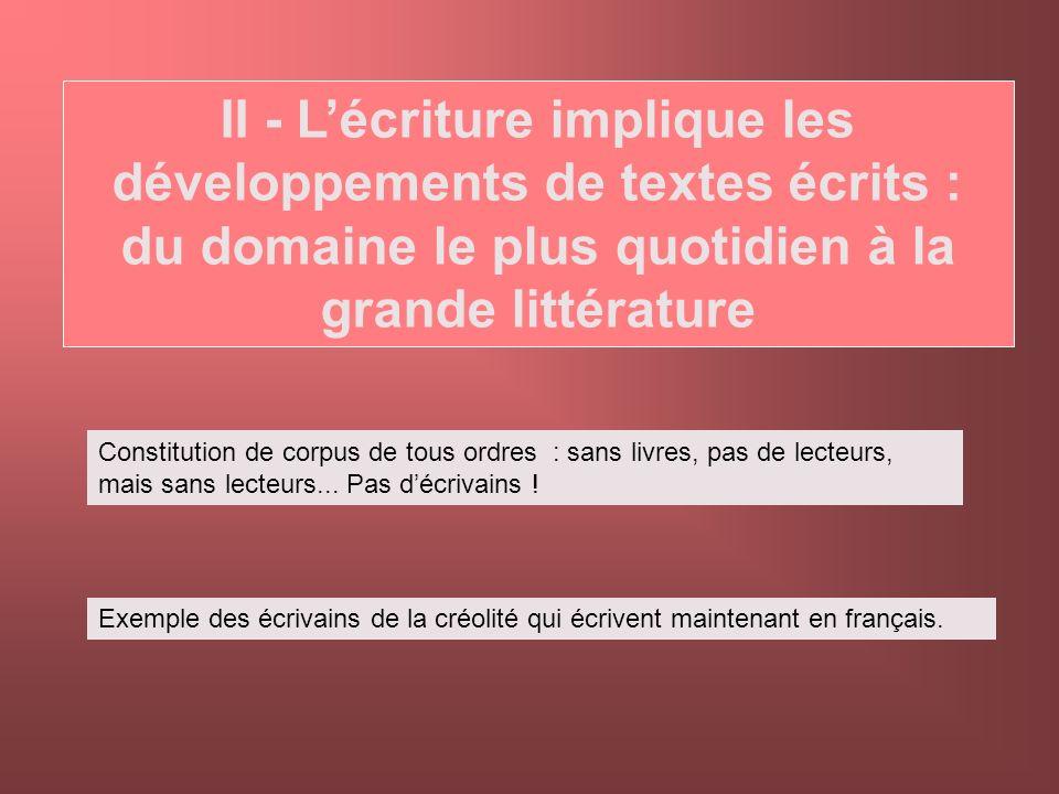 II - L'écriture implique les développements de textes écrits : du domaine le plus quotidien à la grande littérature