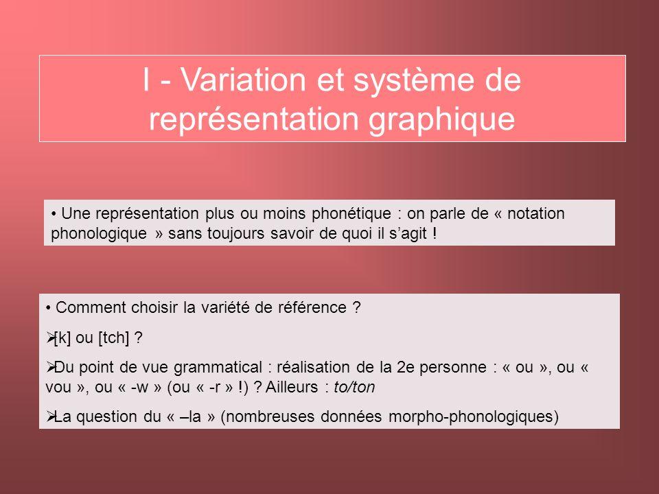 I - Variation et système de représentation graphique
