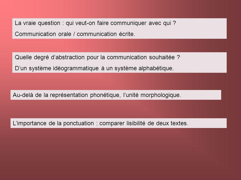 La vraie question : qui veut-on faire communiquer avec qui