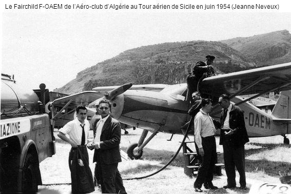 Le Fairchild F-OAEM de l'Aéro-club d'Algérie au Tour aérien de Sicile en juin 1954 (Jeanne Neveux)