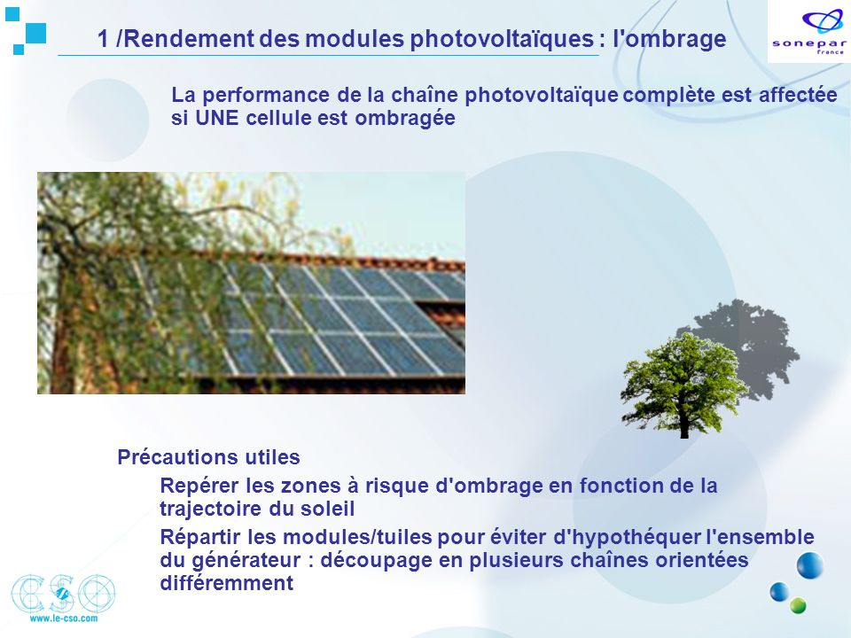1 /Rendement des modules photovoltaïques : l ombrage