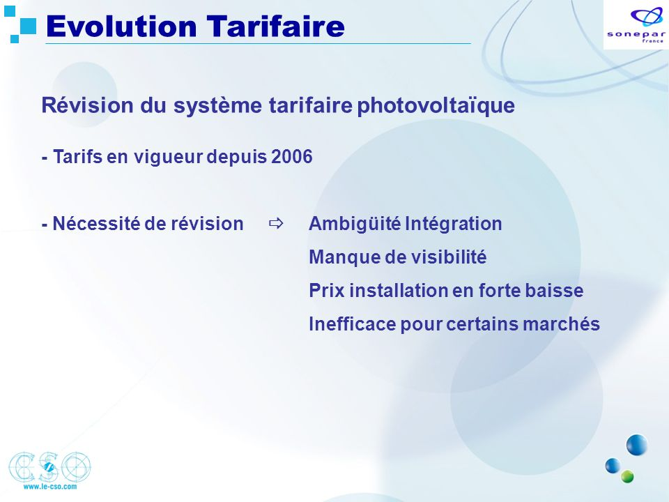 Evolution Tarifaire Révision du système tarifaire photovoltaïque