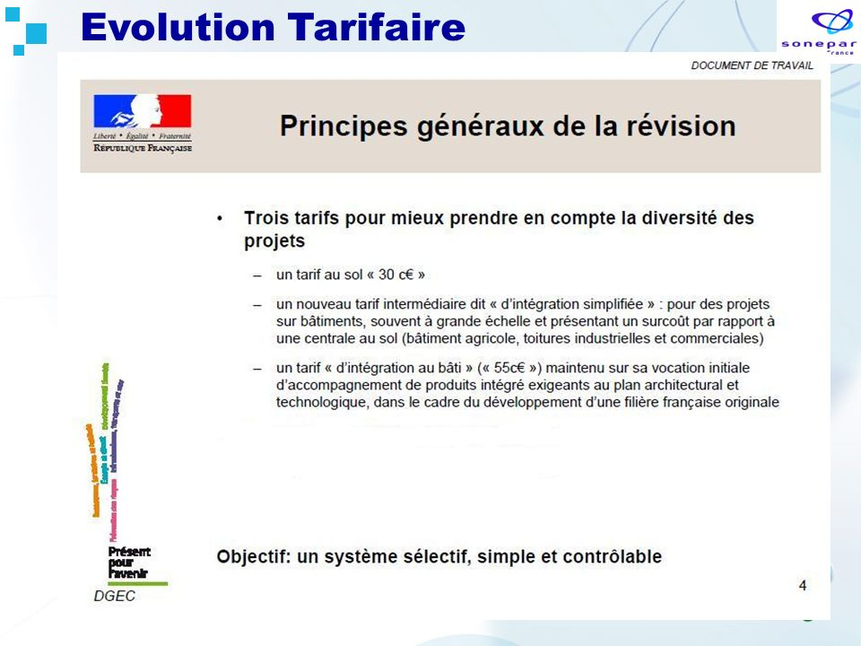 Evolution Tarifaire