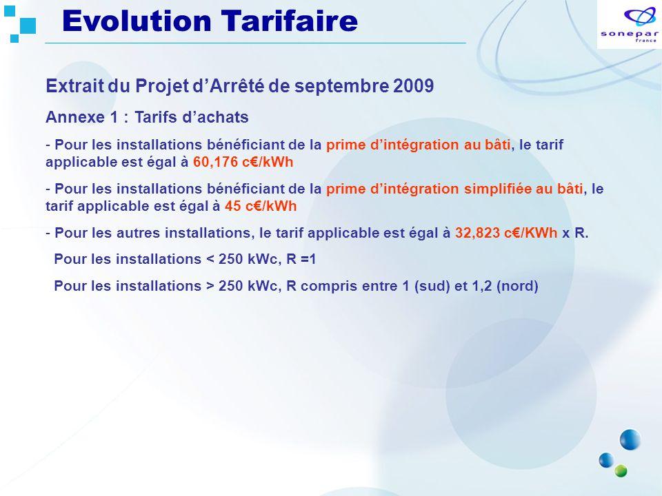 Evolution Tarifaire Extrait du Projet d'Arrêté de septembre 2009