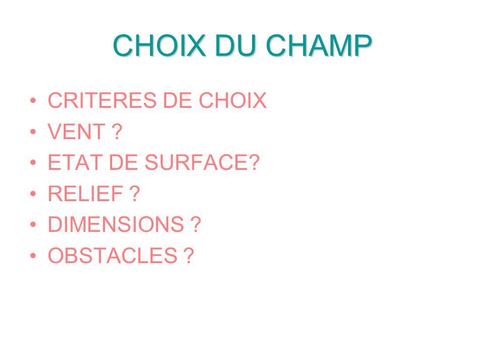 CHOIX DU CHAMP CRITERES DE CHOIX VENT ETAT DE SURFACE RELIEF