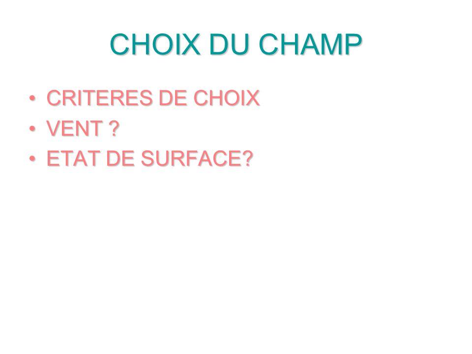 CHOIX DU CHAMP CRITERES DE CHOIX VENT ETAT DE SURFACE