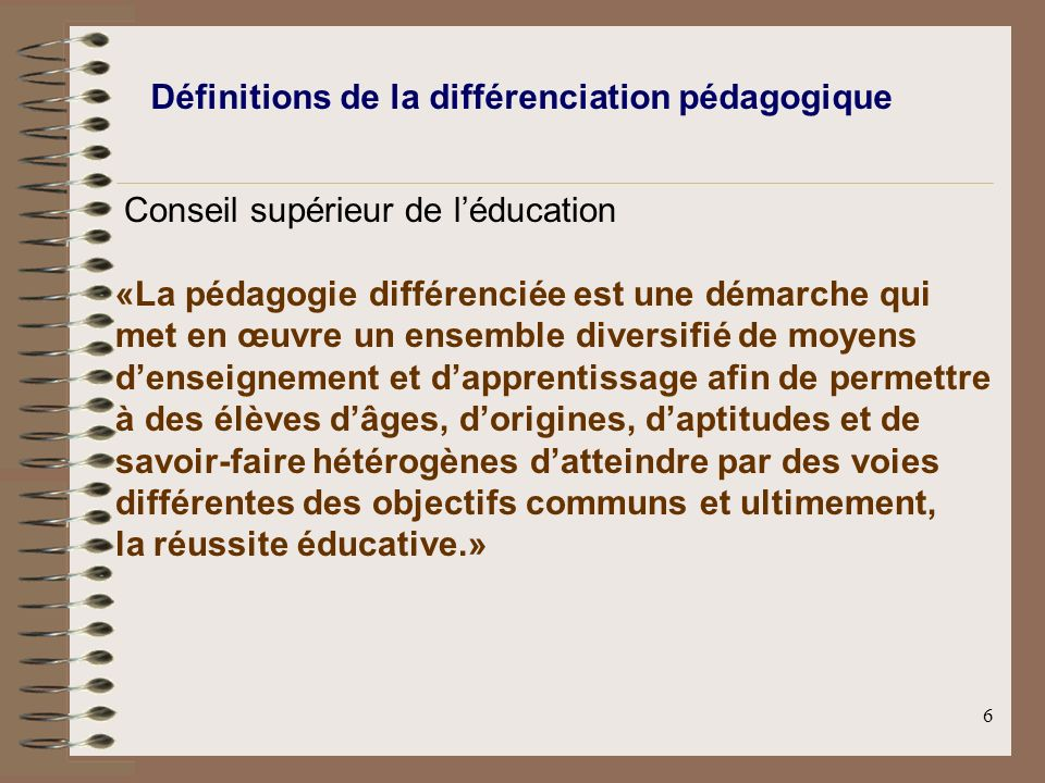 Définitions de la différenciation pédagogique