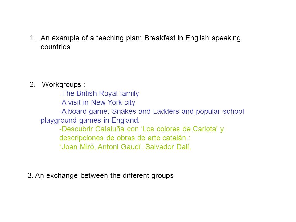 An example of a teaching plan: Breakfast in English speaking countries