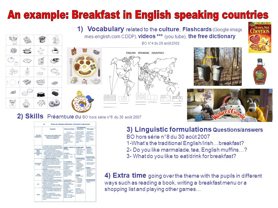 An example: Breakfast in English speaking countries