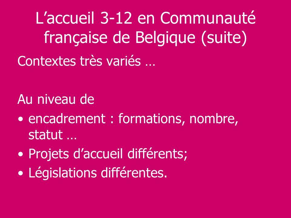 L'accueil 3-12 en Communauté française de Belgique (suite)