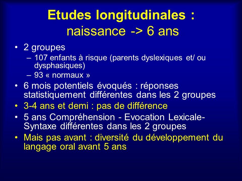 Etudes longitudinales : naissance -> 6 ans
