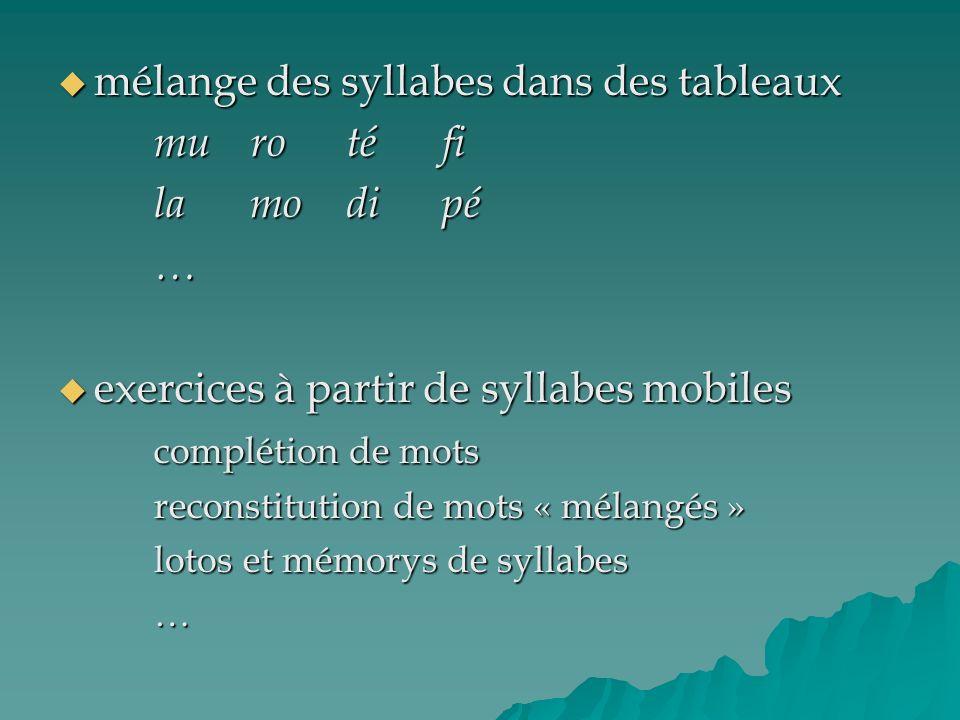 mélange des syllabes dans des tableaux mu ro té fi la mo di pé …