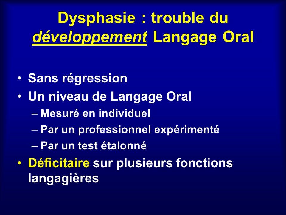 Dysphasie : trouble du développement Langage Oral