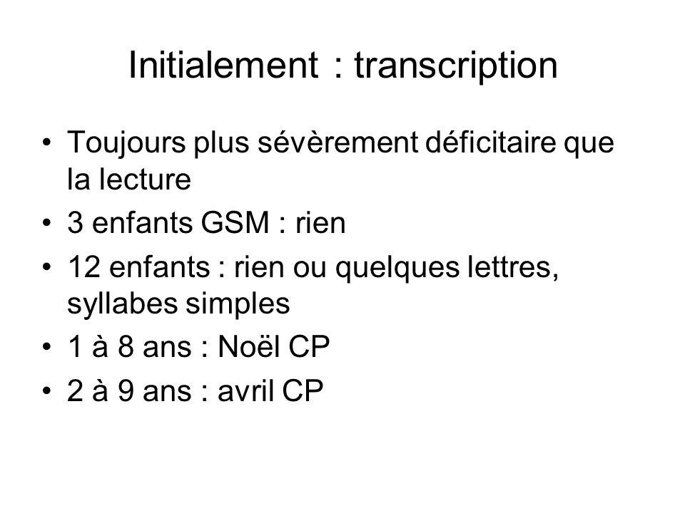 Initialement : transcription