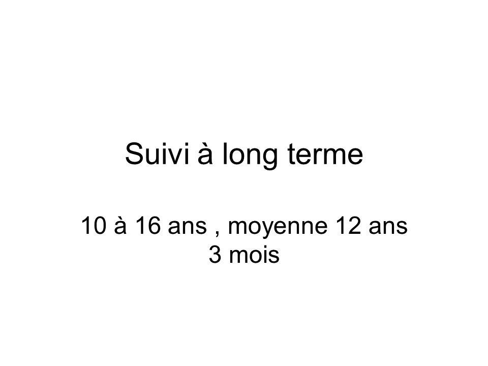Suivi à long terme 10 à 16 ans , moyenne 12 ans 3 mois
