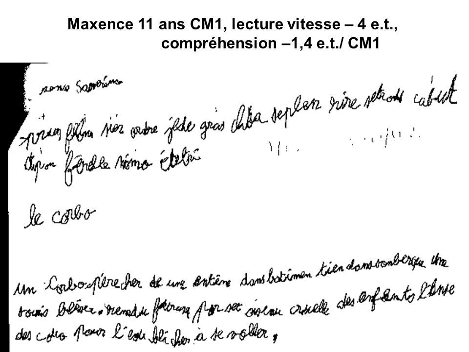 Maxence 11 ans CM1, lecture vitesse – 4 e. t. ,. compréhension –1,4 e