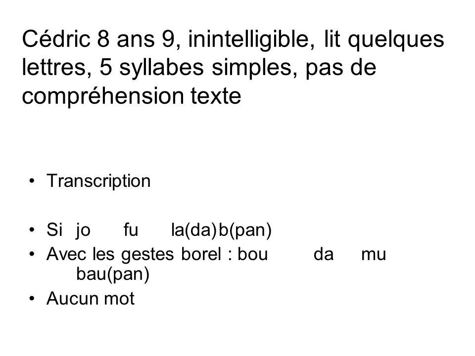 Cédric 8 ans 9, inintelligible, lit quelques lettres, 5 syllabes simples, pas de compréhension texte