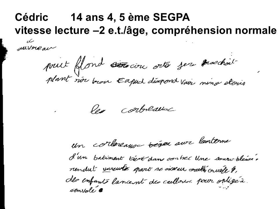 Cédric 14 ans 4, 5 ème SEGPA vitesse lecture –2 e.t./âge, compréhension normale
