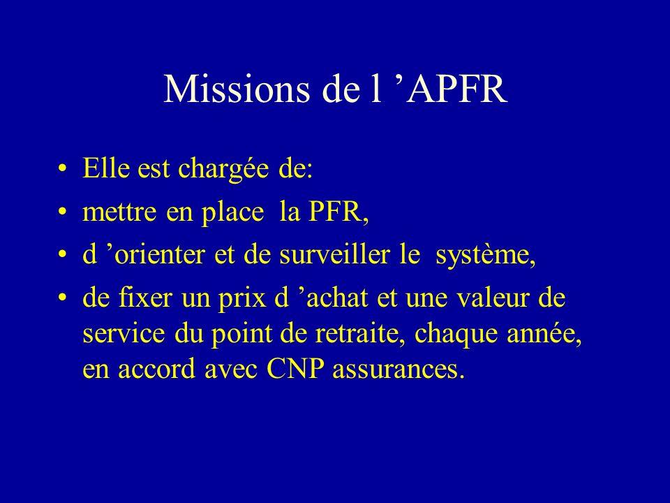Missions de l 'APFR Elle est chargée de: mettre en place la PFR,