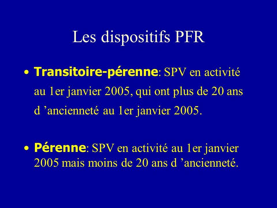 Les dispositifs PFR Transitoire-pérenne: SPV en activité au 1er janvier 2005, qui ont plus de 20 ans d 'ancienneté au 1er janvier 2005.