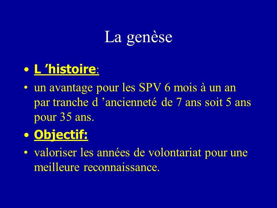 La genèse L 'histoire: un avantage pour les SPV 6 mois à un an par tranche d 'ancienneté de 7 ans soit 5 ans pour 35 ans.