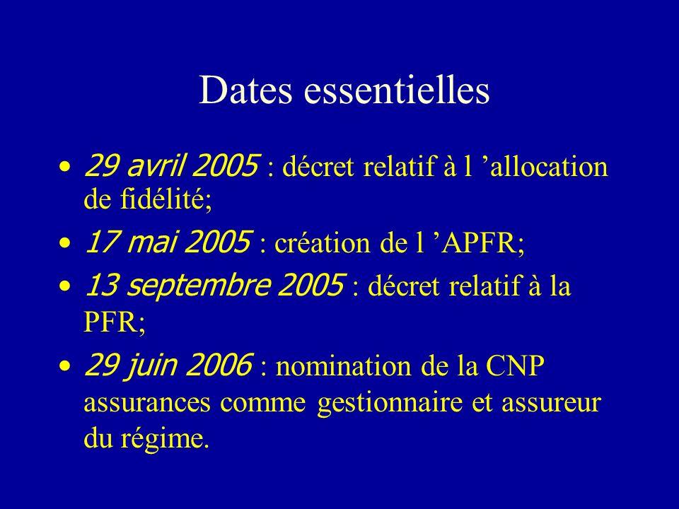 Dates essentielles 29 avril 2005 : décret relatif à l 'allocation de fidélité; 17 mai 2005 : création de l 'APFR;