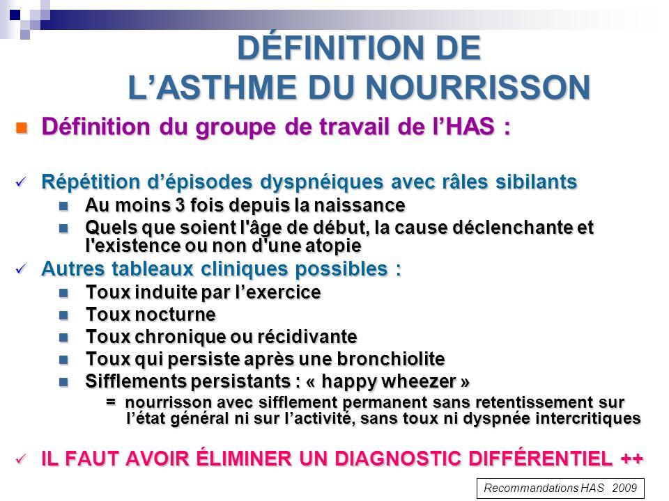 DÉFINITION DE L'ASTHME DU NOURRISSON