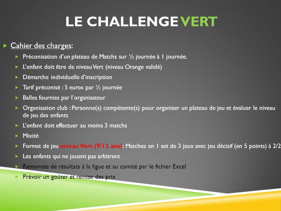 LE challenge vert Cahier des charges: