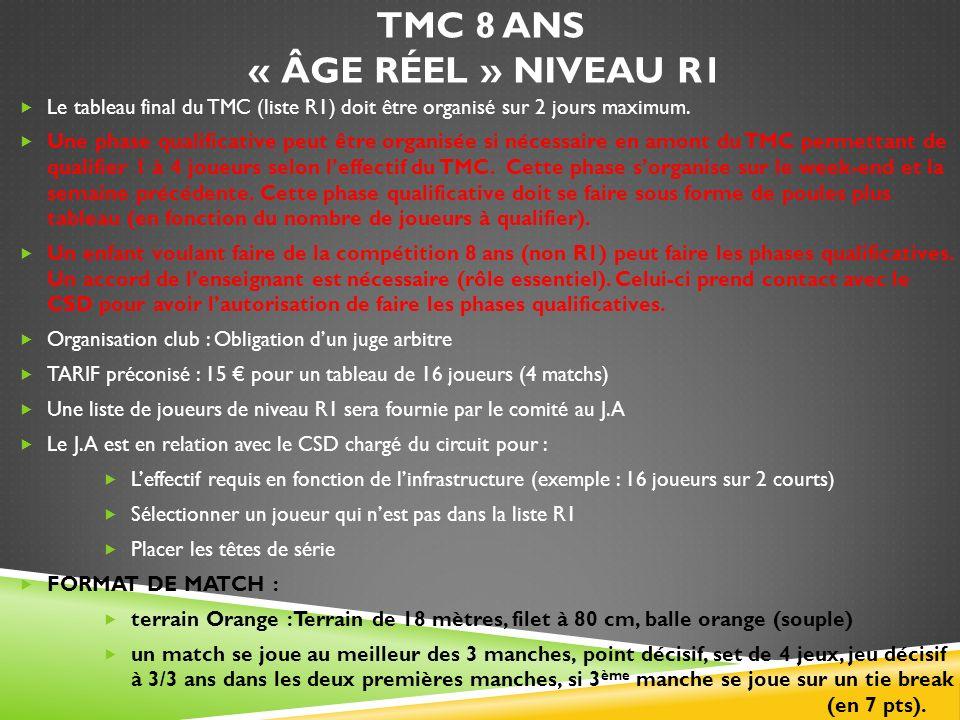 TMC 8 ANS « ÂGE RÉEL » NIVEAU R1