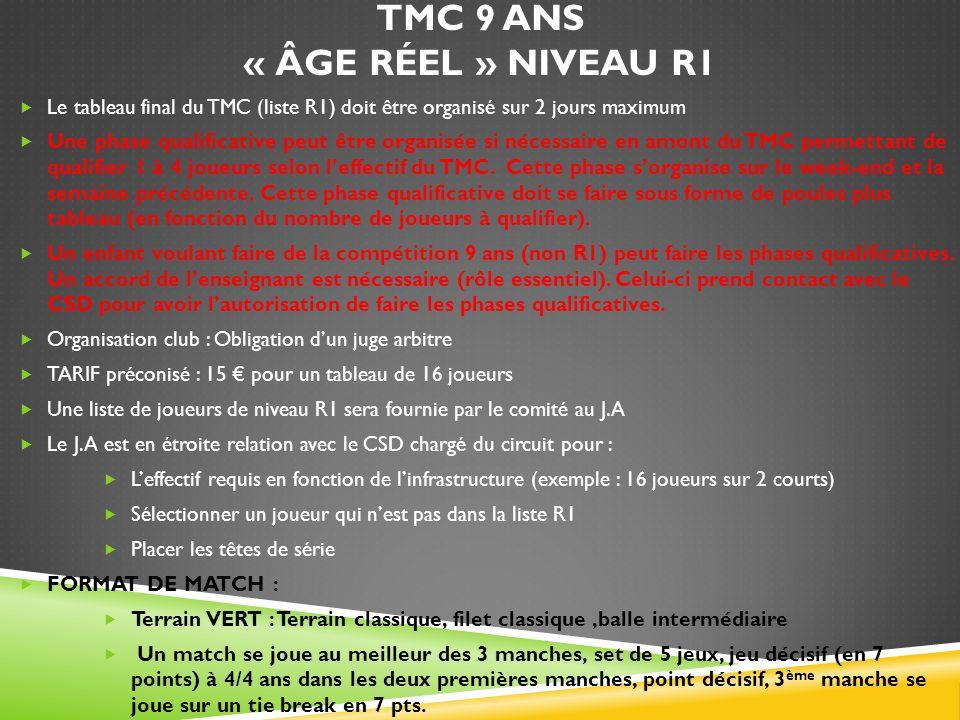 TMC 9 ANS « ÂGE RÉEL » NIVEAU R1