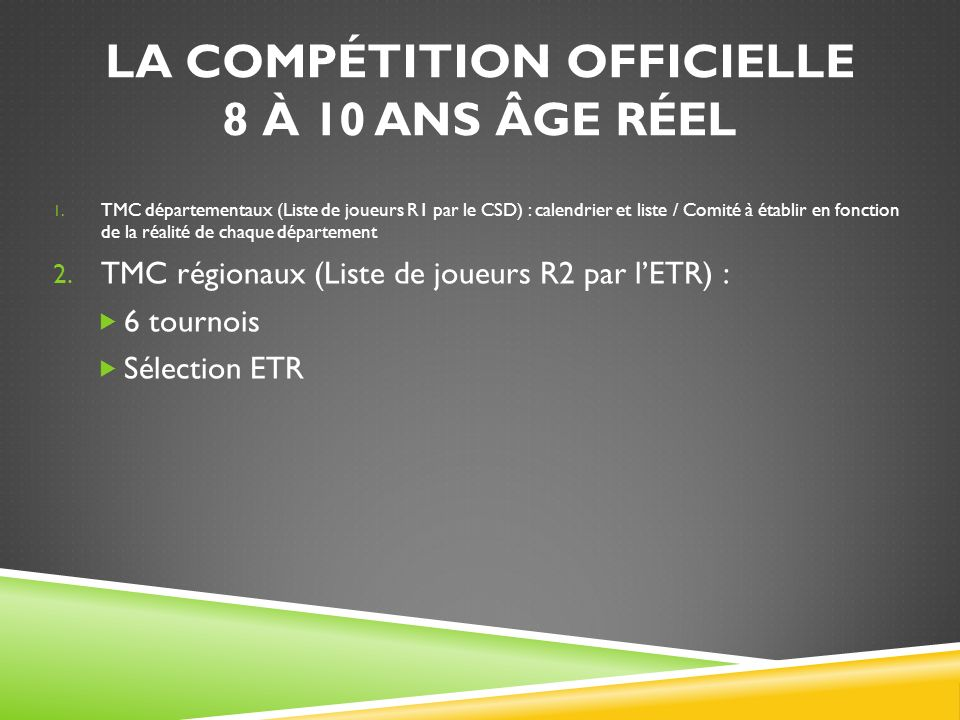 LA COMPÉTITION OFFICIELLE 8 À 10 ANS ÂGE RÉEL