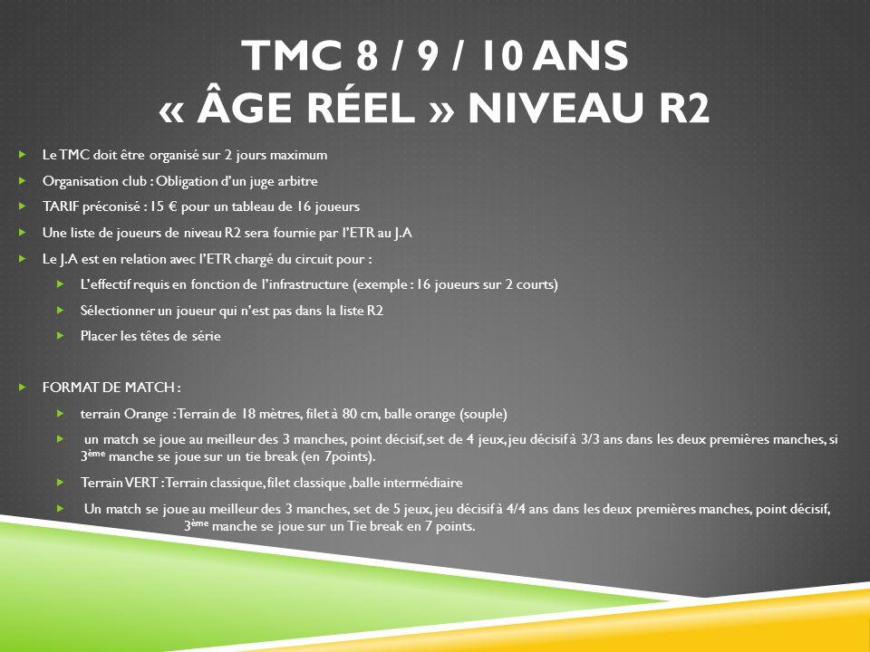 TMC 8 / 9 / 10 ANS « ÂGE RÉEL » NIVEAU R2
