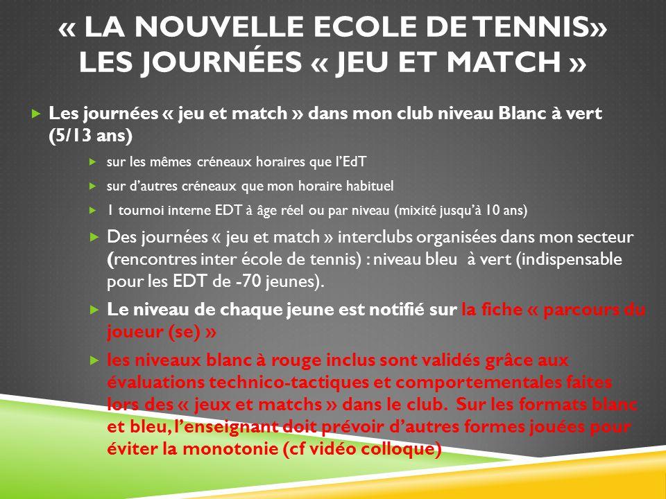 « La nouvelle Ecole de Tennis» Les journées « jeu et match »