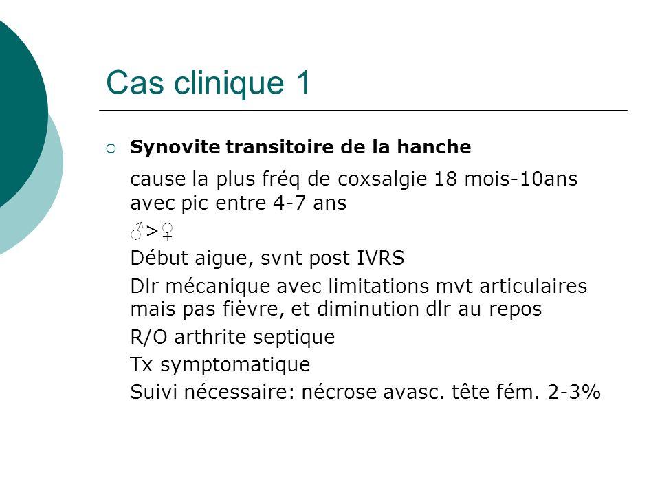Cas clinique 1 Synovite transitoire de la hanche. cause la plus fréq de coxsalgie 18 mois-10ans avec pic entre 4-7 ans.
