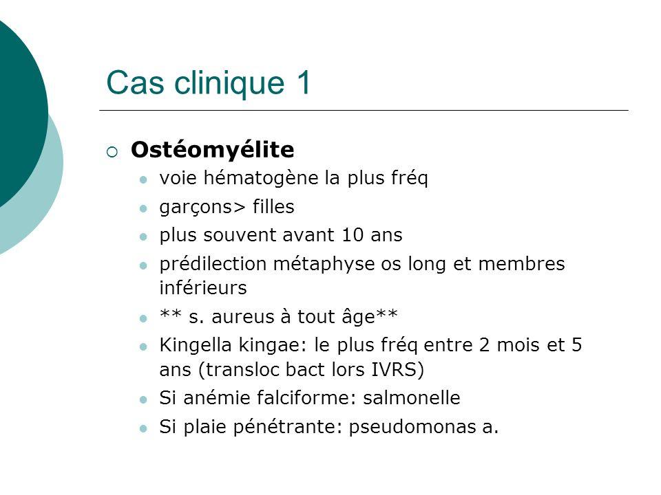 Cas clinique 1 Ostéomyélite voie hématogène la plus fréq