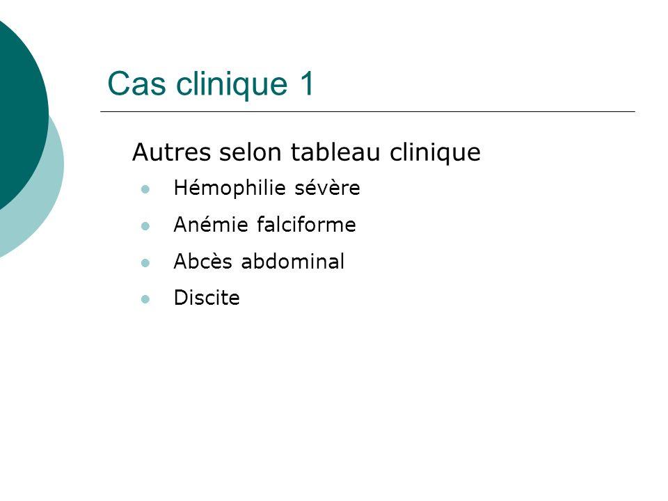 Cas clinique 1 Autres selon tableau clinique Hémophilie sévère